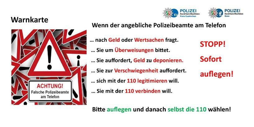 Warnkarte Falscher Polizeibeamter